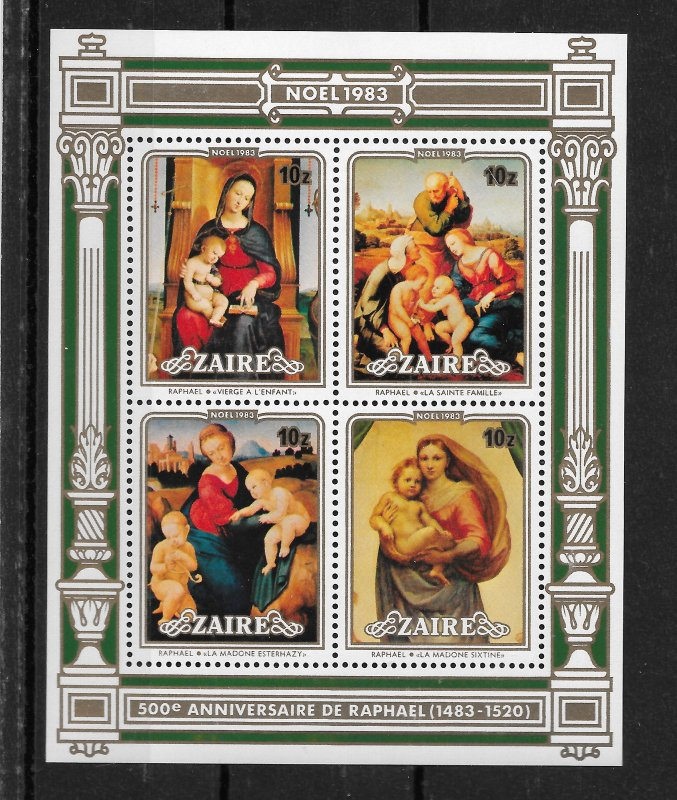 Zaire MNH S/S 1129a-d Christmas 1983 SCV 4.50