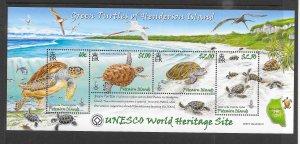 TURTLES - PITCAIRN #681  UNESCO WORLD HERIAGE SITE   MNH