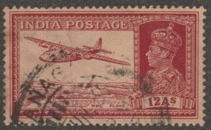India stamp, Scott#161, used, mail plane, 12 annas, transpotation, #M095