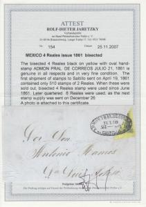 Mexico Sc 9a bisect used on 1861 cover SALTILLO - SAN LUIS POTOSI, 2 Certs.