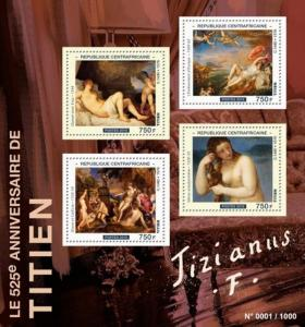 Central Africa - 2015 Artist Titian - 4 Stamp Sheet - 3H-952