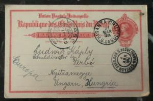 1914 Santa Cruz Brazil Stationary Postcard Cover To Verbo Hungary