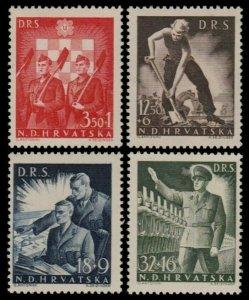 ✔️ CROATIA 1944 - WWII LABOR SERVICE - PERF K12½ - SC. B65/B68 ** MNH OG [CR162]