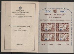 CUBA 211 MNH ROWLAND HILL, SOUVENIR SHEET WITH FOLDER 1960