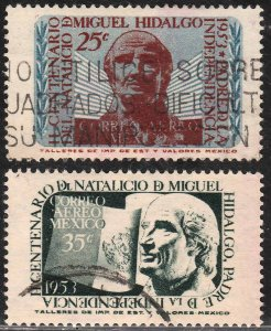 MEXICO C206-C207, Bicentennial of Miguel Hidalgo, SET OF TWO. USED, VF. (486)