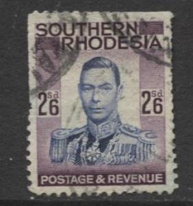 Southern Rhodesia- Scott 53- KGVI - Definitive -1937 -Used- Single 2/6 Stamp