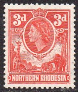 Northern Rhodesia 1953  3d scarlet MH