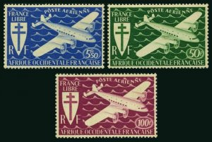 French West Africa C1-C3,MNH.Mi 24-26. Air Post 1945.Cross of Lorraine,Plane.