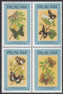 Palau 1987 MNH Sc 121Ef Block of 4 44c Butterflies
