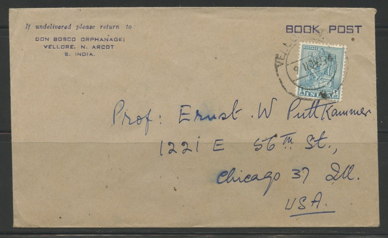 INDIA BOOK POST COVER TO CHICAGO ILLINOIS / HipStamp