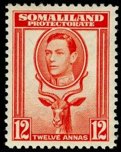 SOMALILAND PROTECTORATE SG100, 12 red-orange, LH MINT. Cat £19.