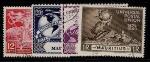 MAURITIUS GVI SG272-275, anniversary of UPU set, FINE USED.