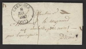 FRANCE 1837 PRE-STAMP ENTIRE Mailed GRENOBLE to BEAUREPAIRE
