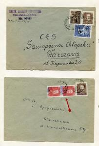 Poland 2  covers  with rare GROSZY overprint