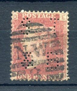 PENNY RED PLATE 15? WITH 'ST&B' PERFIN