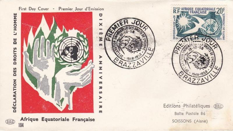 French Equatorial Africa # 202, Human Rights, First Day
