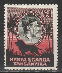 KENYA UGANDA & TANGANYIKA 1938 KGVI LION 1 POUND RARE PERF 11.75 X 13