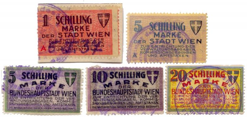 Austria 1930s Vienna Municipal Revenue Stamps
