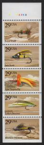1991 Fishing Flies never folded pane Sc 2549a Pl # A33233 CV $30