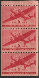 C25a 6c Transport Airmail Booklet Pane of 3 Mint NH OG