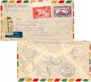 Ethiopia 25c Zoquala, Extinct Volcano and 60c Canoe on Lake Tana 1960 Addis A...