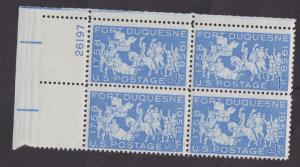 1123 Fort Duquesne MNH Plate Block UL