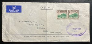 1961 Rhodesia & Nyasaland OHMS Airmail Cover To Rancague Chile