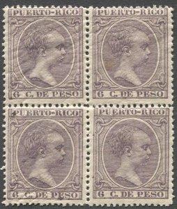 PUERTO RICO 1894 Sc 115  6c Alphonso XIII MNH Block of Four, VF