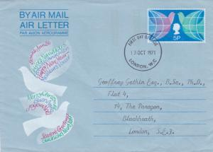 GB 1971 Christmas 5p Air letter First Day of Issue London WC VGC