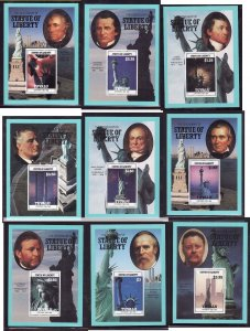Tuvalu-Sc#401-9- id7-unused NH sheets-US Presidents-Statue of Liberty-1986-