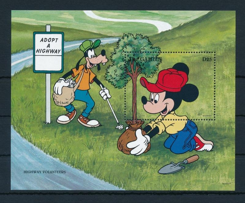 [22397] Gambia 1996 Disney Mickey Mouse Goofy Highway Volunteer Tree MNH
