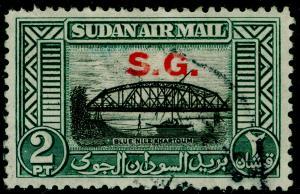 SUDAN SGO59, 2p black & blue-green, FINE USED.