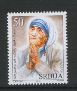 SERBIA-MNH-STAMP-100th BIRHDAY OF MOTHER TERESA-2010
