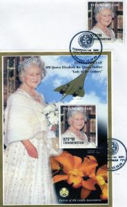 Turkmenistan 1998Queen Mother/Concorde/Orchids/Scouts SS FDC