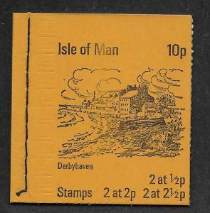 ISLE OF MAN SC# 12a, 15a + 16a COMP BKLT/3 PANES  FVF/MNH 1973