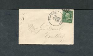 Postal History - Tipton IN 1899 Black Duplex Cancel Cover B0543