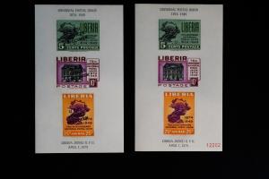 Liberia UPU 1949 Mint NH Regular & Specimen Souvenir Stamp Sheets