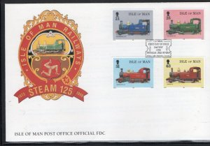 Isle of Man Sc 781-4 1998 Steam Engine stamp set on FDC