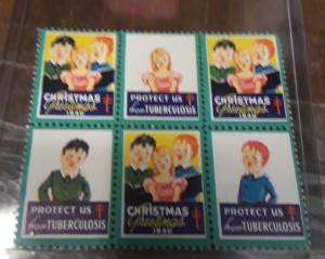 1940 Christmas Seal Block 6 NH