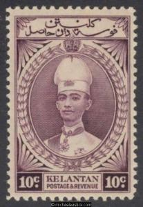 1937 Malaya Kelantan 10c Purple, SG 46 MH