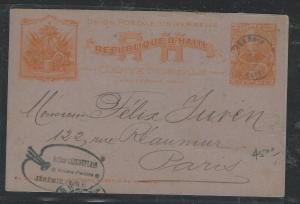 HAITI  (PP1104B)   1904 2C PSC TO FRANCE