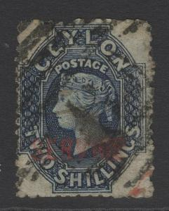 CEYLON SGO5 1869 2/= DEEP BLUE USED