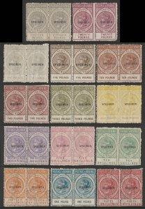 SOUTH AUSTRALIA 1886 QV Postage & Revenue set pairs SPECIMEN MNH ** with VARIETY