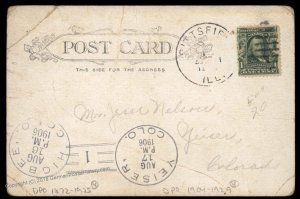 USA 1905 Higbee Yeiser Colorado DPO Helbock R4 R3 Cover Pittfield IL 92688