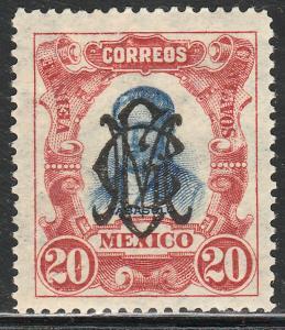 MEXICO 462, 20c VILLA MONOGRAM REVOLUT OVPERPRINT. UNUSED, H OG. F-VF. (5B)