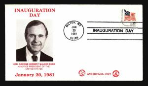 George Bush 1981 Inauguration Cover / Americana Unit Cachet - Z14515