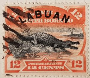 LABUAN (North Borneo) 1894,  12 cent, orange/black.
