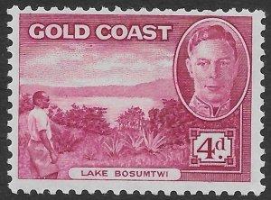 Gold Coast 4d dark carmine rose KGVI Lake Bosumtwi  issue of 1948, Scott 136 MH