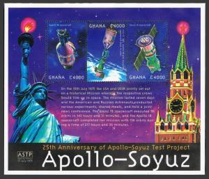 Ghana 2188 ac,2189 sheets,MNH. Apollo-Soyuz mission,25th Ann.2000.