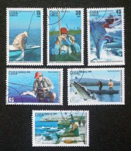 CUBA Sc# 5035-5040  SPORT FISHING FED fish sports CPL SET of 6  2009  used / cto